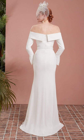 Saboroma - 49025 Button Accented Off Shoulder Gown Evening Dresses 4 / Ivory