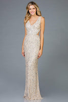 V-neck Sleeveless Floor Length Natural Waistline Fitted Sequined Sheath Sheath Dress