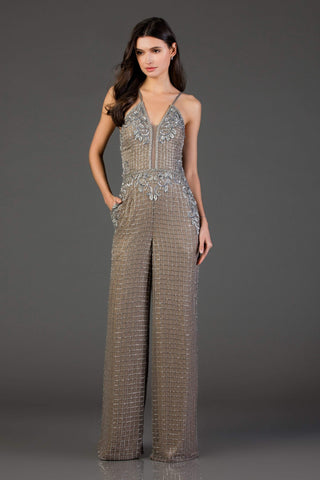 SCALA - 48995 Sequined Plunging V-Neck Jumpsuit Special Occasion Dress 00 / Black