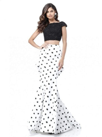 Sherri Hill - 51717 Two Piece Lace Polka Dot Mermaid Dress Evening Dresses 00 / Black/Ivory