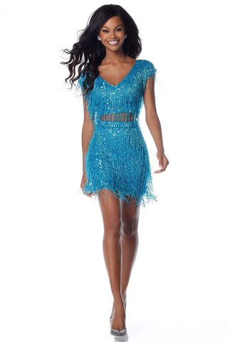 Sherri Hill - 51781 Short Two Piece Bead-Fringe Sheath Dress Party Dresses 00 / Turquoise