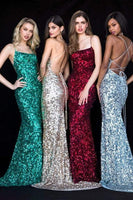 Sleeveless Scoop Neck Sheath Natural Waistline Lace-Up Fitted Sequined Open-Back Sheath Dress/Evening Dress