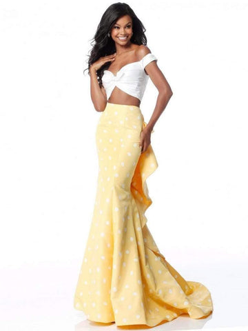 Sherri Hill - 51865 Two-Piece Ruffle Paneled Polkadot Dress Evening Dresses 00 / Ivory/Yellow