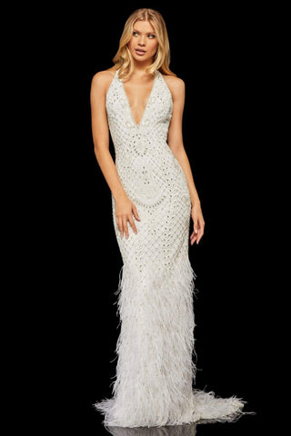 Sherri Hill - 52518 Beaded Deep Halter V-neck Feathered Sheath Dress Evening Dresses 00 / Ivory