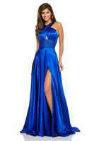 Sophisticated A-line Halter Sleeveless Beaded Back Zipper Cutout Slit Empire Waistline Dress with a Brush/Sweep Train