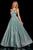 Sherri Hill - 52960 V- Neckline Empire Glitter A Line Dress Special Occasion Dress 00 / Aqua/Silver