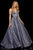 Sherri Hill - 52960 V- Neckline Empire Glitter A Line Dress Special Occasion Dress 00 / Royal/Silver