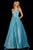 Sherri Hill - 52960 V- Neckline Empire Glitter A Line Dress Special Occasion Dress 00 / Turquoise/Silver
