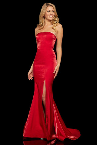 Sherri Hill - 52961 Strapless Mermaid Lace Up Evening Dress Evening Dresses 00 / Red