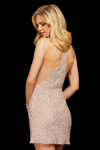 Sherri Hill - 53012 Bead Embellished Halter Short Dress Cocktail Dresses 00 / Blush/Silver