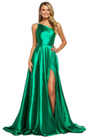 A-line One Shoulder Sleeveless Natural Waistline Asymmetric Fitted Slit Floor Length Satin Party Dress with a Brush/Sweep Train