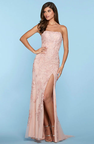 Sherri Hill - 53345 High Slit Straight Neck Strapless Lace Dress Prom Dresses 00 / Blush