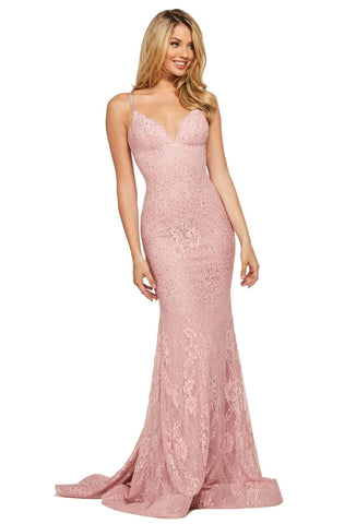 Sherri Hill - 53364 Plunging Lace Up Back Fitted Lace Dress Pageant Dresses 00 / Pink