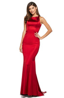 Fitted Ruched Back Zipper Open-Back Jeweled Neck Mermaid Empire Waistline Dress with a Brush/Sweep Train