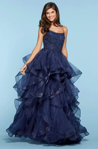 Sherri Hill - 53418 Beaded Lace Scoop Ruffled Ballgown Ball Gowns 00 / Navy