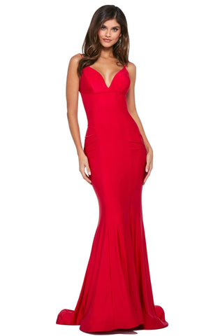Sherri Hill - 53434 V-Neck Jersey Mermaid Evening Dress