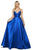 Sherri Hill - 53661 V-Neck Spaghetti Strapped Taffeta Dress Evening Dresses 00 / Navy