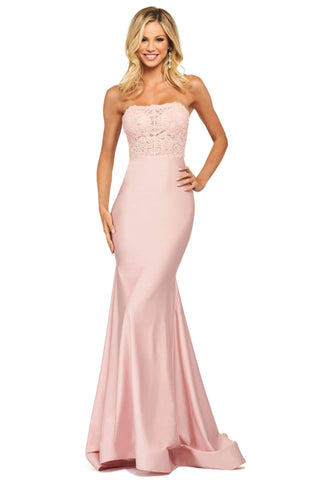 Sherri Hill - 53751 Strapless Applique Trumpet Dress