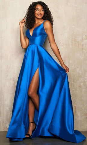 Sherri Hill - 54243 Plunging V-Neck High Slit A-Line Silk Mikado Gown Prom Dresses 00 / Royal