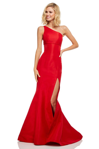 Sherri Hill - One Shoulder Fitted High Slit Mermaid Dress 52752 - 1 pc Red In Size 6 Available