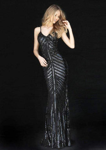 Sherri Hill - Sleeveless V Neck Fitted Beaded and Sequined Dress 51206 - 1 pc Black In Size 12 Available