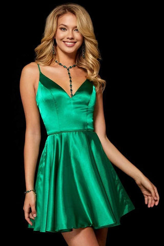 Sherri Hill - Sleeveless V-Neck Satin Short Dress 52253 - 2 pcs Mocha in size 00 and Emerald In Size 8 Available