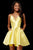 Sherri Hill - V Neck Spaghetti Straps A-Line Satin Short Dress 52379 - 1 pc Yellow In Size 0 and  1 pc Light Blue In Size 0 Available CCSALE 0 / Yellow