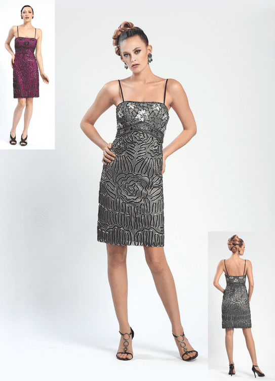 Modest Empire Waistline Square Neck Beaded Sequined Mesh Fitted Sheath Cocktail Above the Knee Sleeveless Spaghetti Strap Sheath Dress/Party Dress With a Ribbon