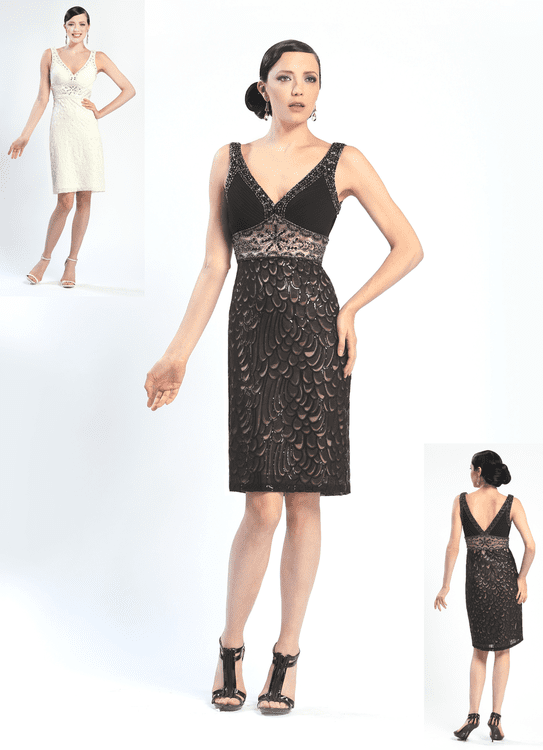 Modest V-neck Fitted Mesh Beaded Pleated Sequined Natural Waistline Sheath Cocktail Above the Knee Sleeveless Sheath Dress