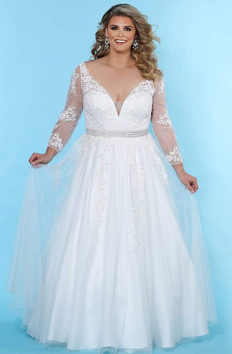 Sydney's Closet - SC5234 Long Sleeve Lace Embroidered Bridal Gown
