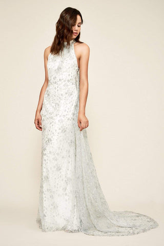 Tadashi Shoji - Embellished High Halter Sheath Dress With Cape Wedding Dresses 0 / Ivory/Silver