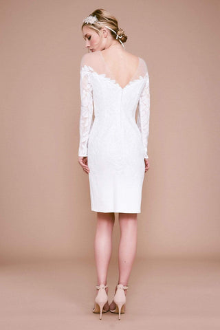 Tadashi Shoji - Lionel Long-Sleeve Sequin Embroidered Dress Wedding Dresses 0 / Ivory