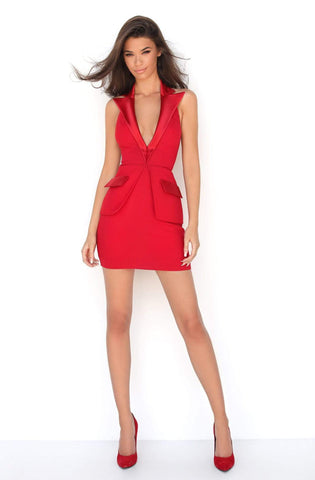 Tarik Ediz - 50604 Plunging V-Neck Sheath Cocktail Dress
