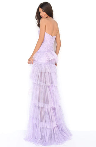 Tarik Ediz - 50631 Stone Studded Shirr-Tiered High Slit Gown Prom Dresses 0 / Lilac