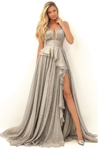 Tarik Ediz - 50649 Deep V-neck A-line Gown Evening Dresses 0 / Silver