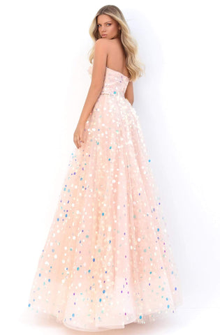 Tarik Ediz - 50651 Long Strapless Paillette-Ornate Tulle Gown Prom Dresses 0 / Bellini Pink