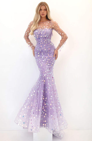 Tarik Ediz - 50698 Illusion Long Sleeve Paillette Ornate Gown Evening Dresses 0 / Lilac