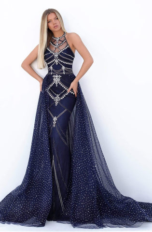 Tarik Ediz - 50753 Crystal Embellished Halter Dress With Overskirt Prom Dresses 0 / Navy