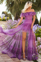 Sexy A-line Tulle Floor Length High-Low-Hem Floral Print Sheer Glittering Semi Sheer Ruched Shirred Tiered Off the Shoulder Corset Natural Waistline Dress with a Brush/Sweep Train With Ruffles