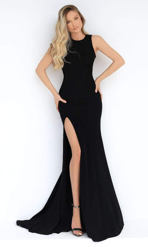 Tarik Ediz - 50860 Jewel Neck High Slit Long Dress