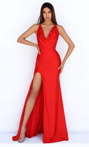 Tarik Ediz - 50862 Cowl Neck High Slit Mermaid Dress