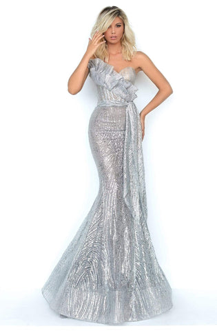 Tarik Ediz - 93941 Sequin Embellished Strapless Mermaid Dress Evening Dresses 0 / Grey