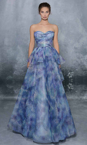 Tarik Ediz - 96044 Strapless Sweetheart Ruffle Overlay Lace Gown Prom Dresses 0 / Blue Degrade