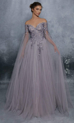 Tarik Ediz - 96075 Embellished Bodice Sheer Cape Sleeve Tulle Gown