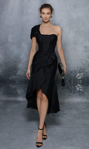 Tarik Ediz - 96129 One Shoulder Ruffled High Low Hem Taffeta Dress Cocktail Dresses 0 / Black