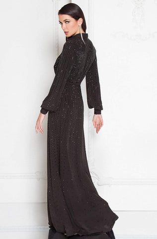 Terani Couture - 1812E6274 Bishop Sleeves Bejeweled Gown Special Occasion Dress 0 / Black