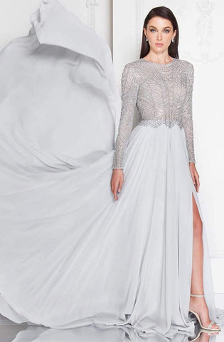 Terani Couture - 1813M6703 Shimmering Long Sleeve Evening Gown