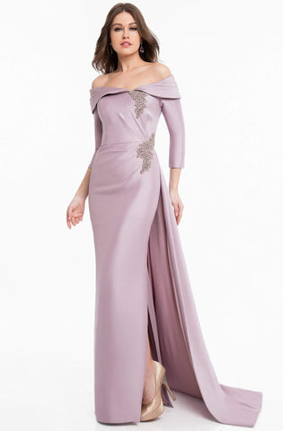 Terani Couture - 1821M7550 Folded Off Shoulder Quarter Sleeve Gown
