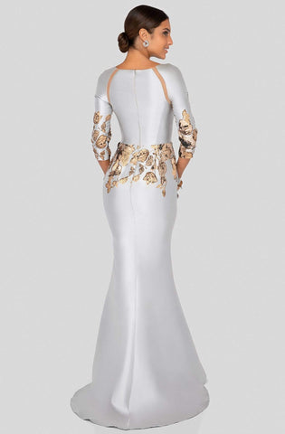 Terani Couture - 1911E9142 Cut-In Appliqued Mermaid Gown Mother of the Bride Dresses 0 / Silver Bronze
