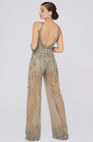Terani Couture - 1912E9156 Crystal Beaded Lace Halter Jumpsuit Evening Dresses 0 / Taupe